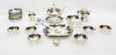 Early Victorian porcelain part tea and coffee service, probably Coalbrookdale of rococo style with