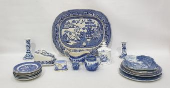 Large quantity of decorative blue and white ware to include a Spode clock, various miniatures,
