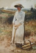 John R Reid (1851-1925) Watercolour drawing Woman working in a field holding a fork, a trug of
