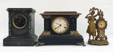 Three assorted mantel clocksto include two black slate examples and a French-style clock with