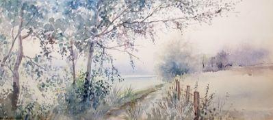 Watercolour drawing A rural scene, 19 x 45cm
