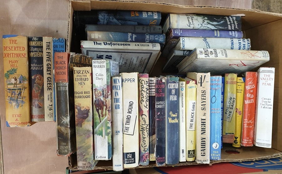 Lot 56 - Quantity of detective novels including Gollancz Yellow Jackets, The Thriller Book Club, Conan