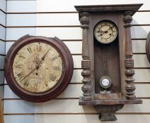 Two wall clocks, one in mahogany circular case (for restoration) (2)