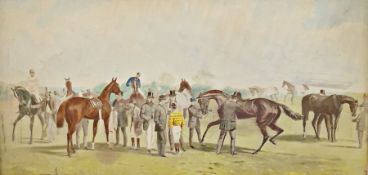 19th century Engraving Horses in stable with figure Two chromolithographs Horse racing scenes (3)