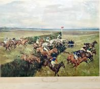 After Michael Lyne Colour print The Grand National, Canal Turn 1965, the horses all named, signed