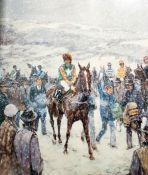 Colour print Cheltenham's winter scene, limited edition 189/750, signed in pencil in the margin,