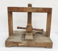 Wooden book presswith large screw