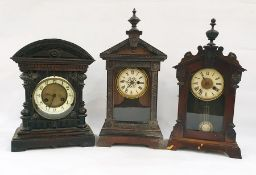 Three assorted mantel clocksto include mahogany-cased example with Arabic numerals to the ivorine