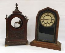 19th century mahogany clock body, the arch top above body with decorative mouldings, raised on