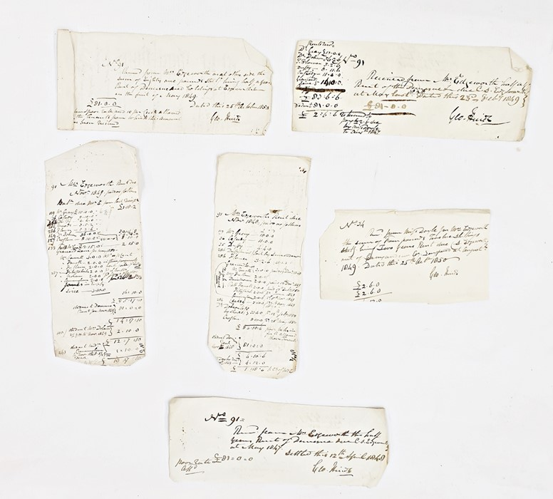 Lot 34 - Various rent slipsdated 1849 to Mrs Edgeworth (likely to be Maria's stepmother) Although Maria