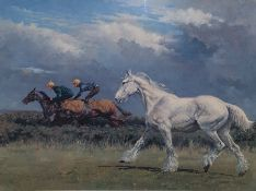 """Colour print by John Beer, 1683-1822 """"Fathers of the turf"""",47 x 65cm, together with After M Coward"""