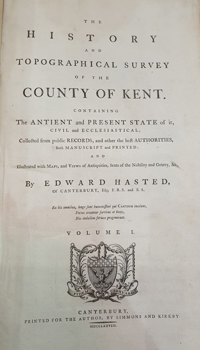 "Lot 22 - Hasted, Edward  ""The History and Topographical Survey of the County of Kent containing the Ancient"