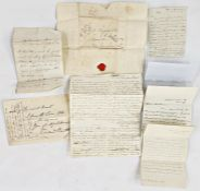 A letter from Richard Bentley (with a copy of ME's letter July 1834) with Irish seal and stamp,