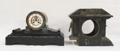 Black slate cased mantel clockwith Roman numerals to the enamel chapter ring and a black slate