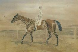 Unattributed Watercolour drawing Horse and jockey, 13.5cm x 19cm