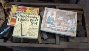 Wooden box of printing blocksand another tray of printing blocks