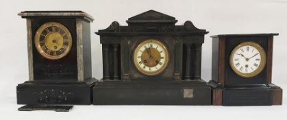 Three black slate assorted mantel clocks, each with Roman numerals, one in the Greco-Roman