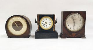 Three assorted mantel clocksto include two 20th century examples and a black slate example with
