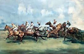 After Michael Lyne Colour print Steeplechase scene, signed lower right in the margin by the