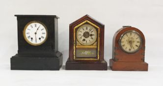 Three assorted mantel clocksincluding black slate example with French movement and Roman numerals