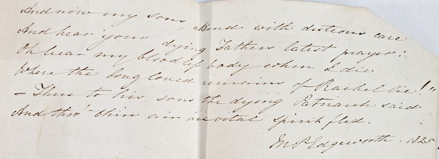 Lot 35 - Letters from Maria Edgeworth including My Dearest Mary dated October 4th 1834 from Edgeworth's Town,