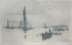 After W L Wyllie, Etching Shipping on river scene, together with 20th Century, watercolour,