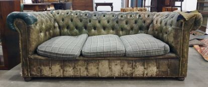Green leather button-back Chesterfield three-seater sofa Condition Reportplease find images of the