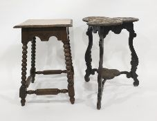 Two carved oak side tables, one on bobbin turned supports and the legs united by turned and block