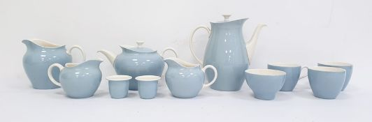 Wedgwood white and blue glazed pottery part dinner service and teaset, Summer Sky pattern,