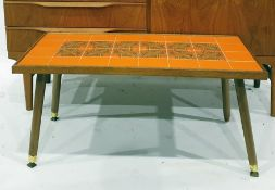 Mid century tile-top coffee table