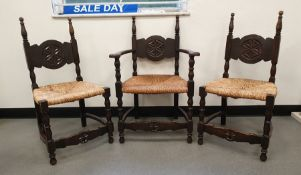 Set of six (4+2) 20th century oak framed dining chairs with rush seats, stretchered bases (6)