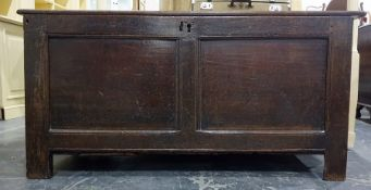 18th century and later oak cofferwith two plain panels to the front, on simple stile supports,