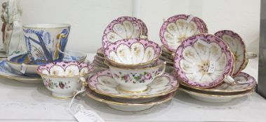 19th century porcelain teaset, handpainted with pink and gilt borders and handpainted floral