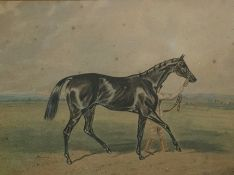Unattributed Watercolour drawing Racehorse and figure leading, 12cm x 16cm framed Condition
