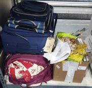 Two suitcases, assorted bed and table linen , knitting needles etc. ( two suitcases and a box)