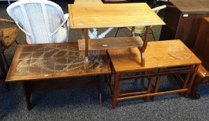 Tile-topped coffee table, a further coffee table anda teak coffee tablewith two tables under