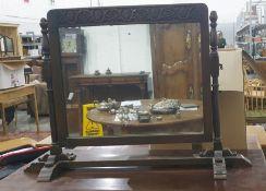 20th century oak dressing table mirror