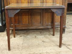 Late 19th century mahogany rectangular side tablewith moulded edge, on square section tapering