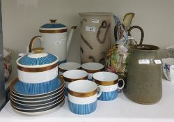 20th century Polish porcelain part coffee set comprising teapot, cups, saucers, sugar bowl and