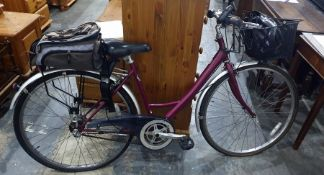 """Raleigh lady's 48cm (19"""") frame bicyclefitted with a basket,a bicycle helmetand a rucksack basket"""