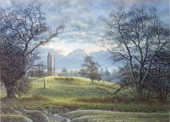 """Michael Pettersson Watercolour drawing """"Freston Tower"""", landscape with tower, labelled verso, 39cm x"""