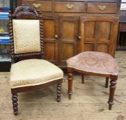 Victorian mahogany-framed bedroom chairwith rectangular upholstered back rest, flanked by