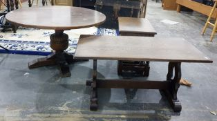 Circular coffee table in oak ( diameter 95 cms) an oak nest of tables and a further rectangular