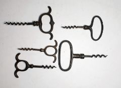 Five assorted iron pull corkscrews (5)