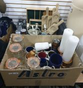 Assorted kitchenalia to include mugs, kilner jars, pestle and mortar, etc (2 boxes)