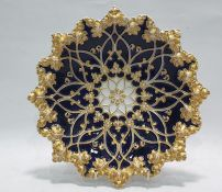 19th century Meissen porcelain royal blue and gilt glazed bowl, raised in relief with leaves