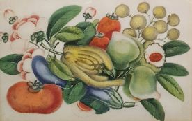 20th century Chinese school Pair watercolours on rice paper Still life studies of fruit and flowers,