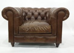 John Lewis brown leather button-back armchair