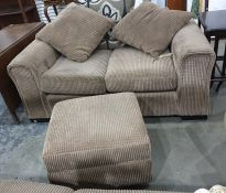 Three seat sofa, a two seat sofa and a pouffe in fawn/brown corduroy upholstery