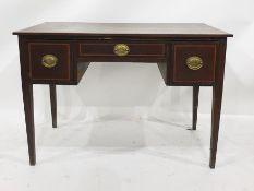 19th century mahogany and satinwood banded dressing table with three assorted drawers, on square